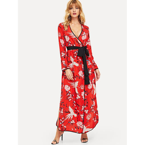 Red Contrast Binding And Belt Wrap Dress