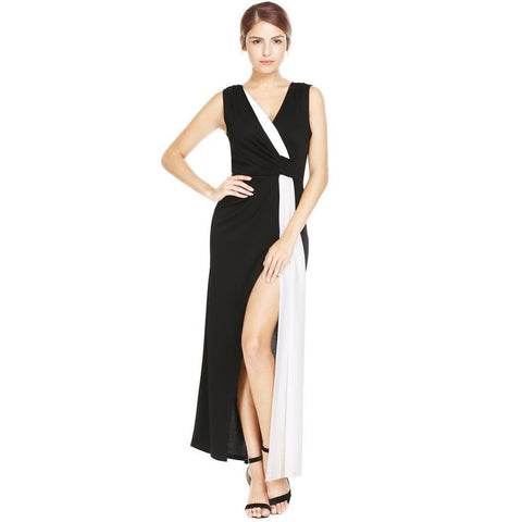 Formal Dresses - Women's Trendy Black V-Neck Sleeveless Long Dress