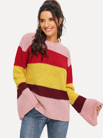 Sweatshirts - Women's Trendy Multicolor Drop Shoulder Color Block Sweater