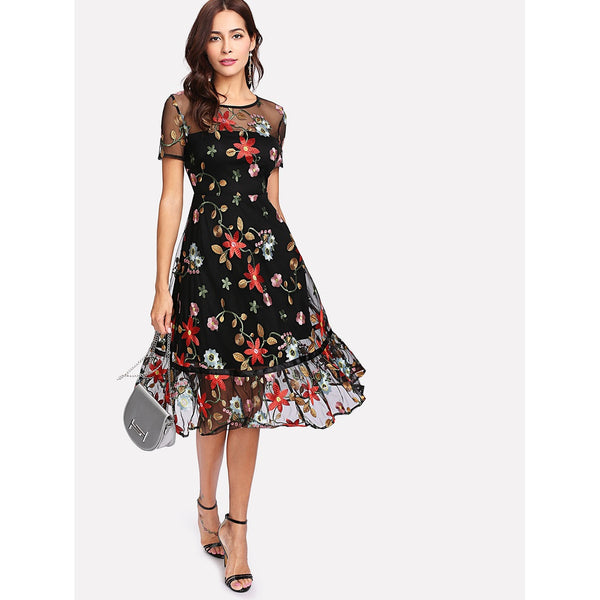 - Women's Trendy Black Round Neck Short Sleeve Floral Party Dress