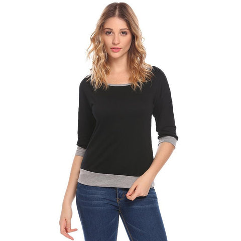 Sweatshirts - Women's Trendy Black Collar Half Sleeve T Shirt