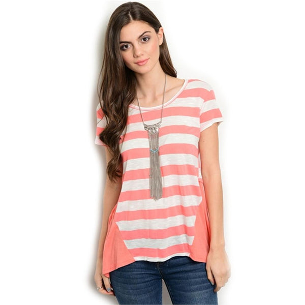 Blouses - Women's Trendy Coral Striped Blouse