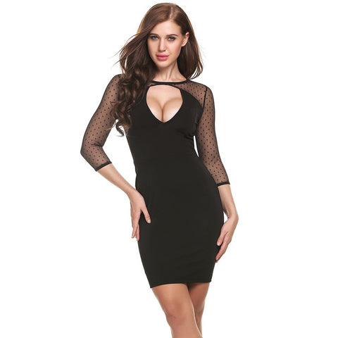 Ups - Women's Trendy Black V-Neck Above Knee Party Dress