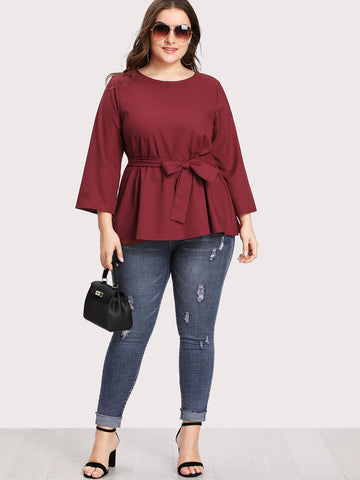Plus Size Burgundy Self Tie Blouse