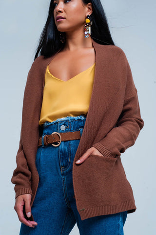 Brown Cardigan With Pockets