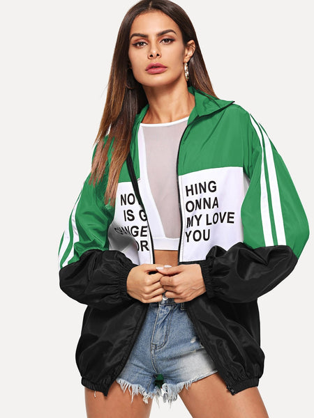 Zip Up Color Block Letter Print Jacket