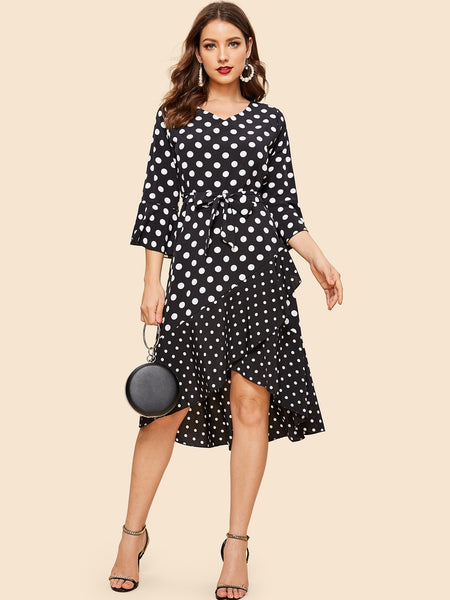 Black and White Hem Polka Dot Midi Dress