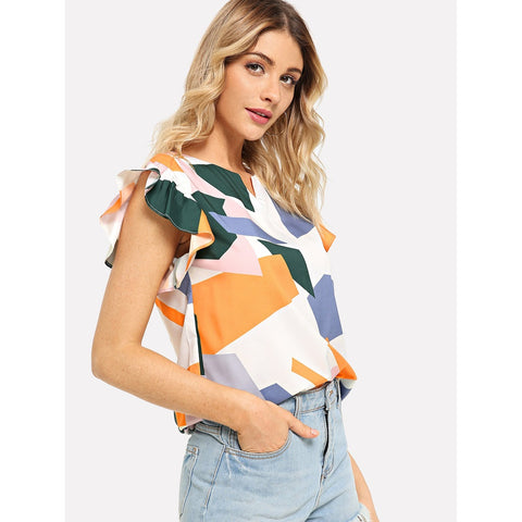 Shirts & Jersey Shirts - Women's Trendy Multicolor Ruffle Sleeve Geo Print Blouse