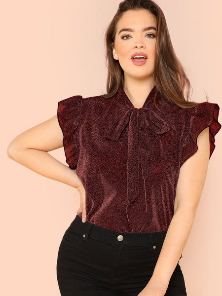 Plus Size Burgundy Tie Neck Ruffle Armhole Glitter Top
