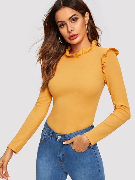 Ginger Frill Detail Solid Fitted T-Shirt