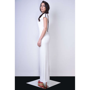 White V-neck Print Maxi Dress - Fashiontage