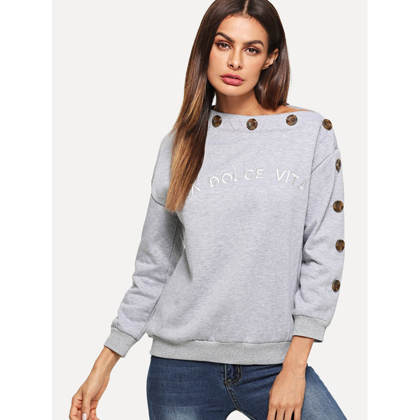 Grey Letter Print Button Detail Sweatshirt