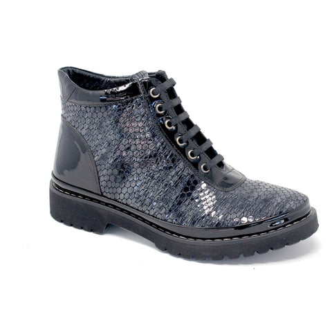 Booties - Women's Trendy Grey / Black Lace Up Booties