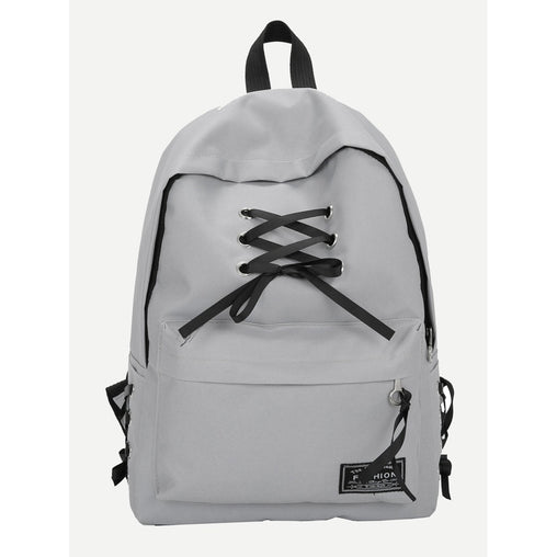 Grey Lace Up Pocket Front Backpack