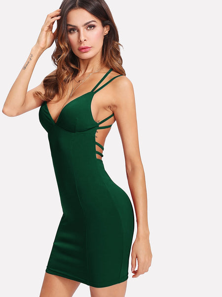 Green Strappy Backless Fitted Mini Dress