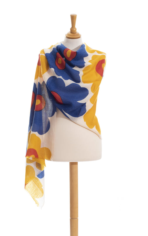 Flower power blu and yellow wool scarf