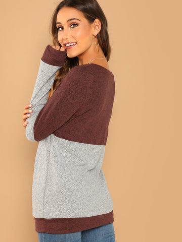 Sweatshirts - Women's Trendy Multicolor White Round Neck Soft Knit Faux Suede Elbow Patch Top
