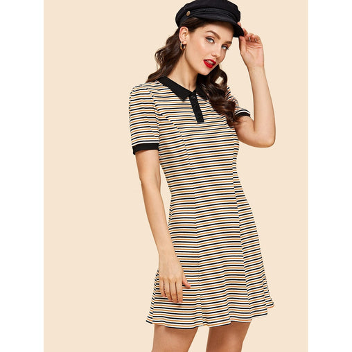 Multicolor Rib Knit Striped Polo Dress