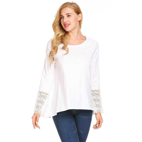 Shirts - Women's Trendy White Boat Neck Long Sleeve Blouse