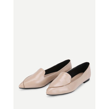 Apricot Pointed Toe Faux Leather Flats