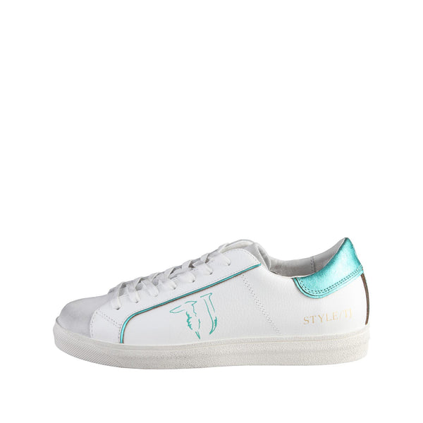Trussardi White Laceup Leather Sneakers