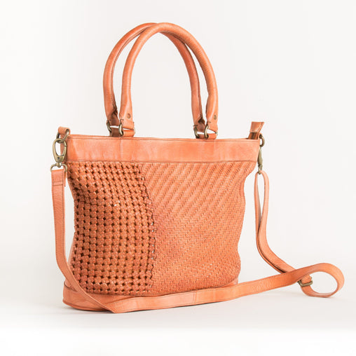 Orange Boa Leather Handbag