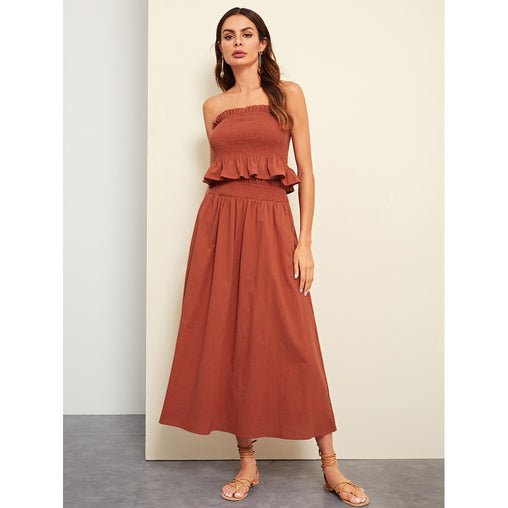 Rust Frill Trim Shirred Panel Bandeau Crop Top And Skirt Set