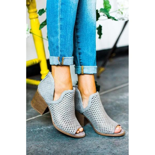 Grey Peep Toe Ankle Block Heel Booties