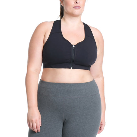 Plus Size Black Cotton Tailored Bra