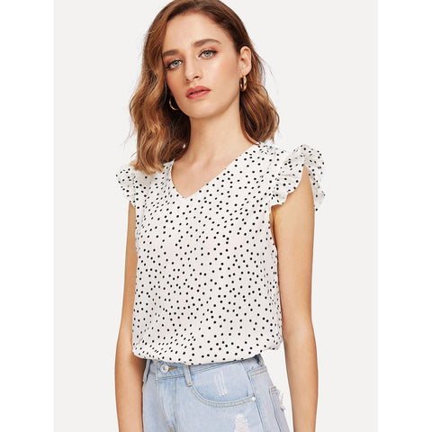 Sweatshirts - Women's Trendy Black And White V-Neck Knot Dot Blouse