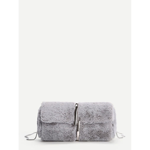 Grey Faux Fur Chain Crossbody Bag