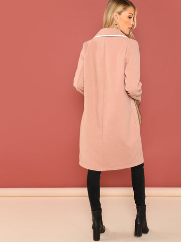 Pink Notch Collar Faux Fur Pocket Coat