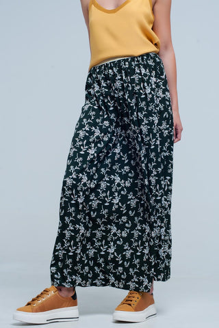 Pleated Skirts - Women's Trendy Green Polka Dot Long Skirt