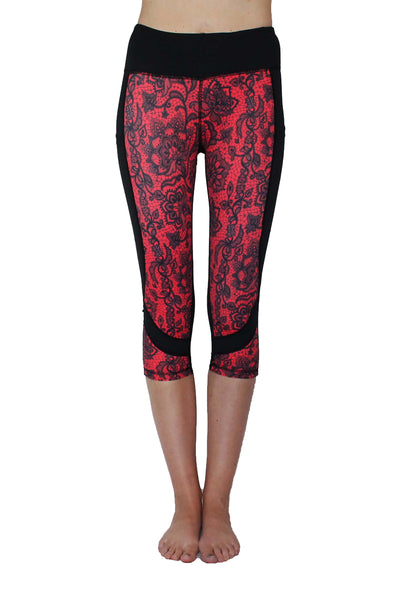 Red Lace Pocket Capri Activewear Bottom