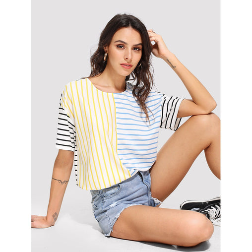Plus Size Multicolor Cut And Sew Striped Tee