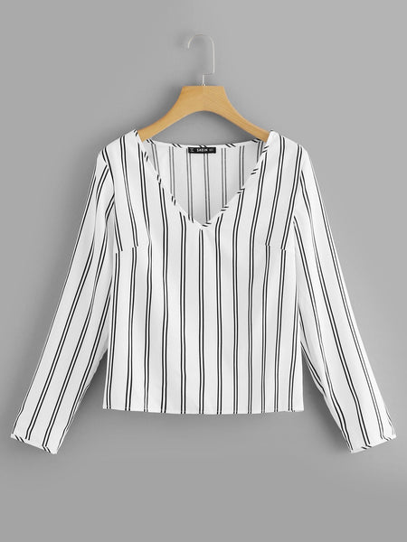 White V Neck Vertical Striped Top