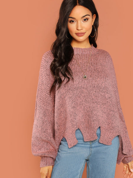 Pink Cut Out Hem Fuzzy Knit Pullover Sweater