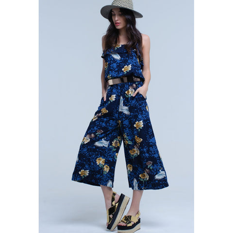 Navy Blue Flower Print Leaves Ruffle Jumpsuit