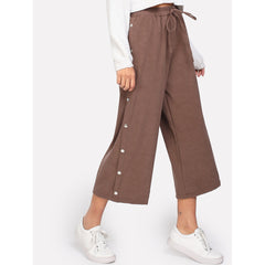 Button Side Drawstring Culotte Pants - Fashiontage