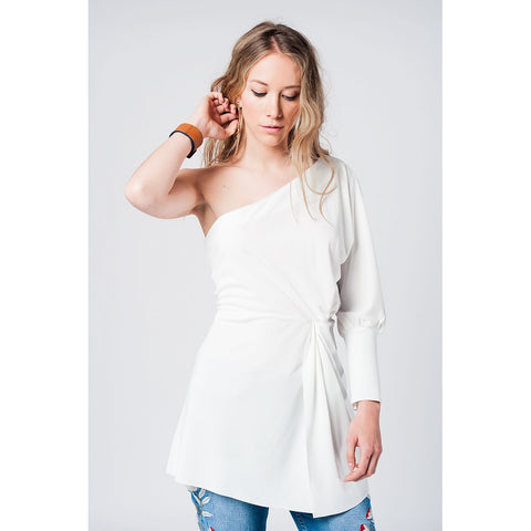 White One Shoulder Asymmetric Top