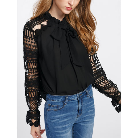 Tops - Women's Trendy Black Geo Lace Sleeve Frilled Tie Neck Blouse