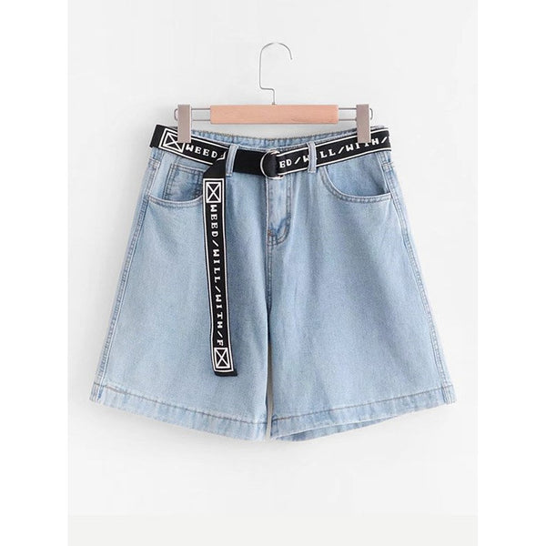 Jean Shorts - Women's Trendy Blue Loose Capri Denim Shorts