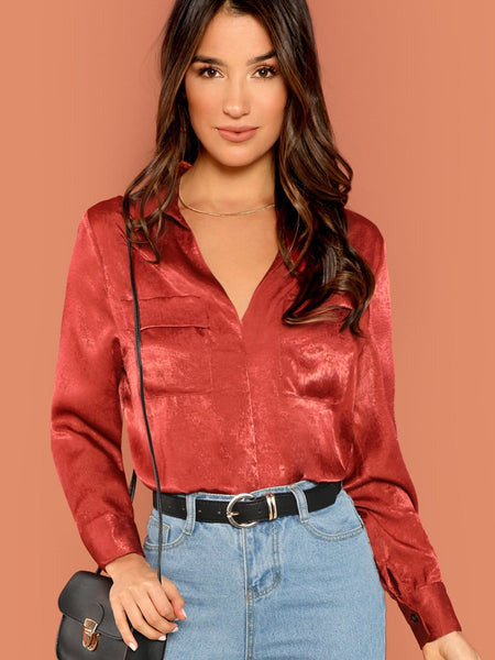 Red Pocket Front Plain Top