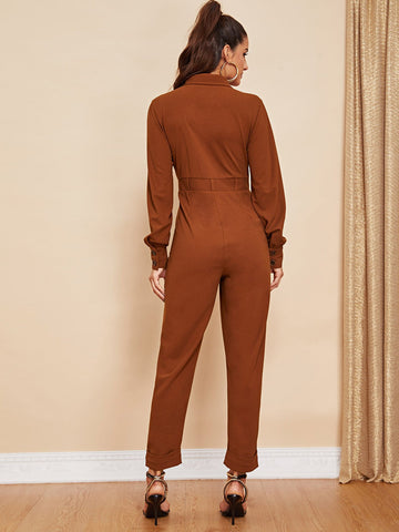 Jumpsuits - Women's Trendy Button Front Collar Neck Solid Jumpsuit