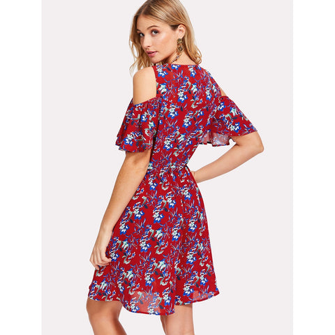 Burgundy Round Neck Cold Shoulder Floral Print Dress