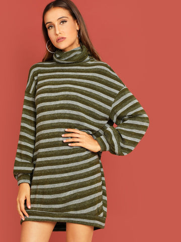Day Dresses - Women's Trendy High Neck Striped Tunic Dress