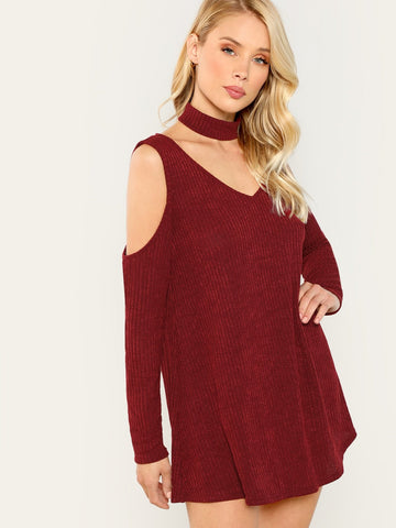 Burgundy Rib Knit Cold Shoulder Tee With Choker