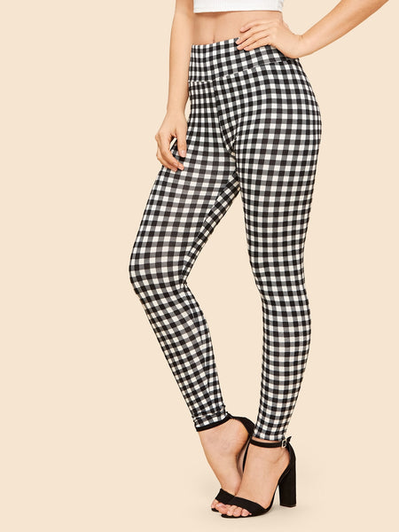 Black and White Wide Waist Gingham Leggings