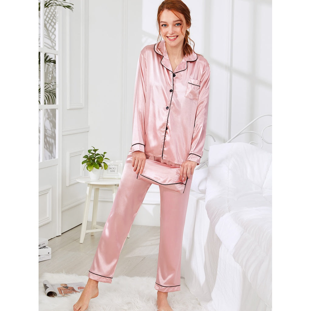 1fc45448a69 Fashiontage - Pink Contrast Binding Satin Pajama Set With Wallet ...