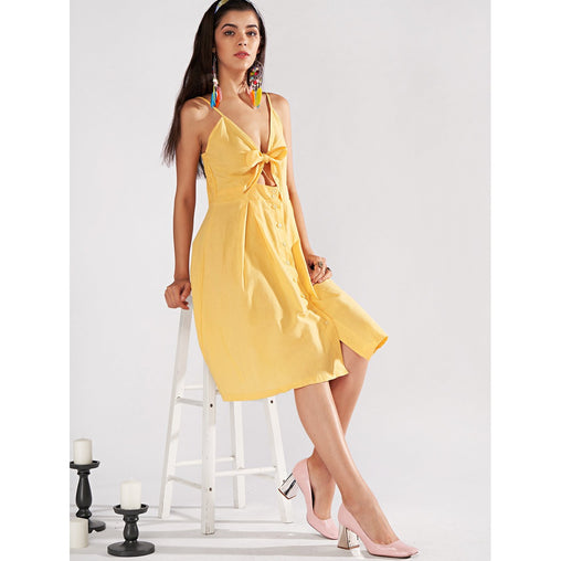 Yellow Spaghetti Strap Sleeveless Bow Button Dress